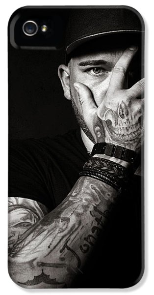 Armed iPhone 5s Case - Skull Tattoo On Hand Covering Face by Johan Swanepoel