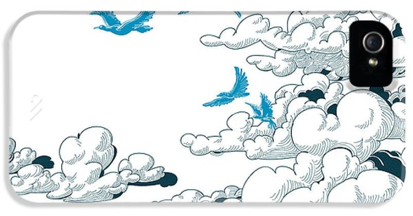 Etching iPhone 5s Case - Sky Background, Clouds And Blue Birds by Danussa