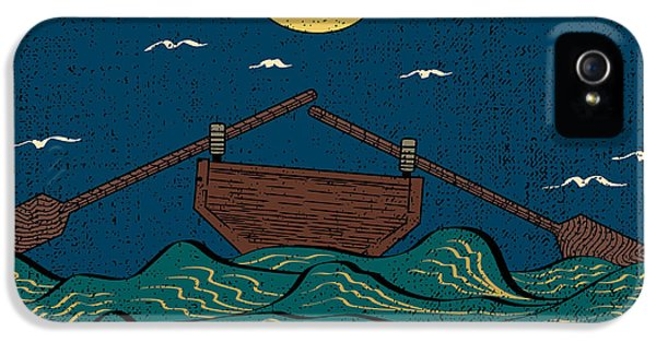 Etching iPhone 5s Case - Wavy Sea Water Landscape Depicting Boat by Drug Naroda