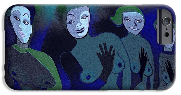 Green Witch iPhone Cases -  155 - Blue Ladies -1- iPhone Case by Irmgard Schoendorf Welch