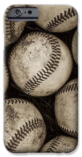 Sepia iPhone 6 Case -  Baseballs by Diane Diederich