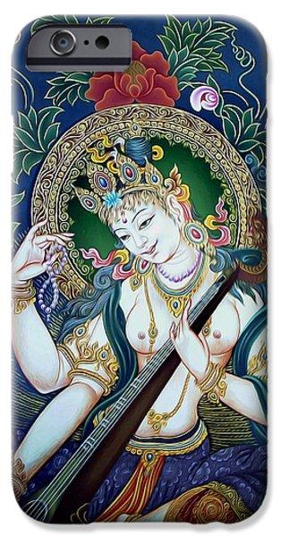 Tibetan Buddhism iPhone Cases -  Saraswati 2 iPhone Case by Lanjee Chee
