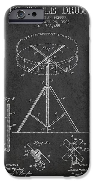 Folk Art iPhone 6 Case - Portable Drum Patent Drawing From 1903 - Dark by Aged Pixel