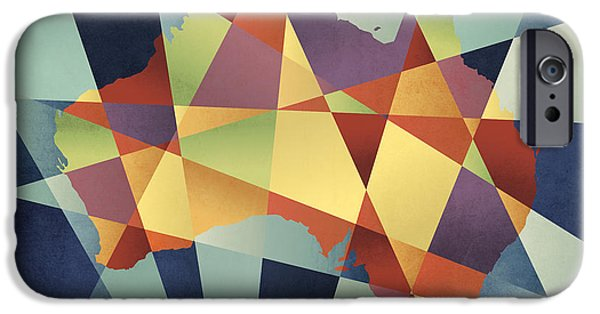 Contemporary iPhone 6 Case - Australia Geometric Retro Map by Michael Tompsett