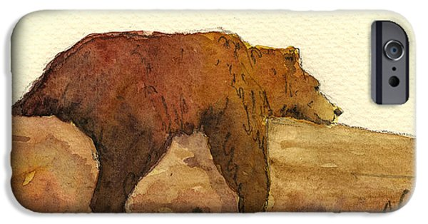 Brown iPhone 6 Case - Grizzly Bear by Juan  Bosco