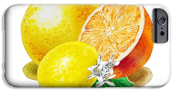 IPhone 6 Case featuring the painting A Happy Citrus Bunch Grapefruit Lemon Orange by Irina Sztukowski