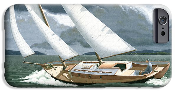 Sailboat Paintings iPhone Cases - A passing squall iPhone Case by Gary Giacomelli