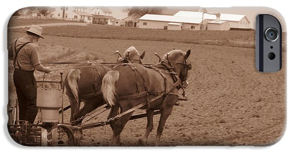 Amish Community iPhone Cases - Amish Farmer iPhone Case by Janet Pugh