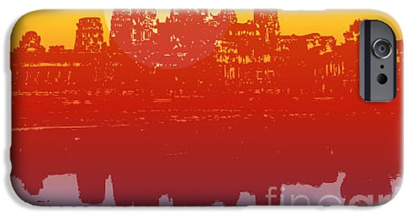 Buddhism iPhone 6 Case - Angkor Wat In Sunset Vector - by Fat fa tin