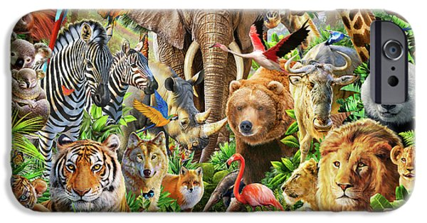 IPhone 6 Case featuring the drawing Animal Mix by Adiran Chesterman