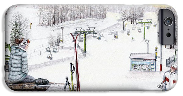 Snow-covered Landscape Drawings iPhone Cases - Apres-Ski at Hidden Valley iPhone Case by Albert Puskaric