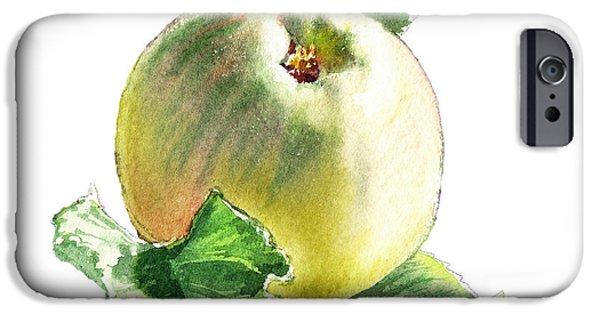 IPhone 6 Case featuring the painting Artz Vitamins Series A Happy Green Apple by Irina Sztukowski