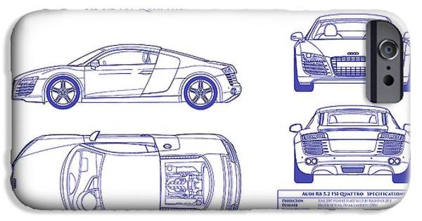 Audi r8 iphone 6 cases fine art america audi r8 iphone 6 case audi r8 blueprint by jon neidert malvernweather Image collections