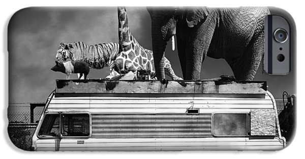 Barnum And Bailey iPhone 6 Case - Barnum And Bailey Goes On A Road Trip 5d22705 Square Black And White by Wingsdomain Art and Photography
