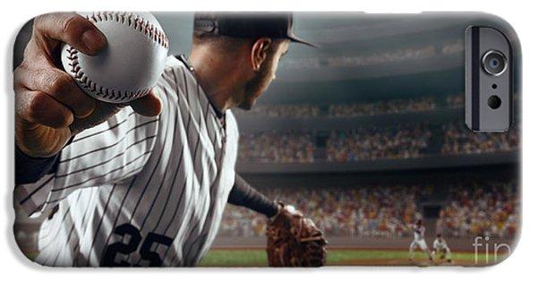 Bat iPhone 6 Case - Baseball Player Throws The Ball On by Alex Kravtsov