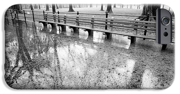 IPhone 6 Case featuring the photograph Benches Reflection Poets Walk by Dave Beckerman