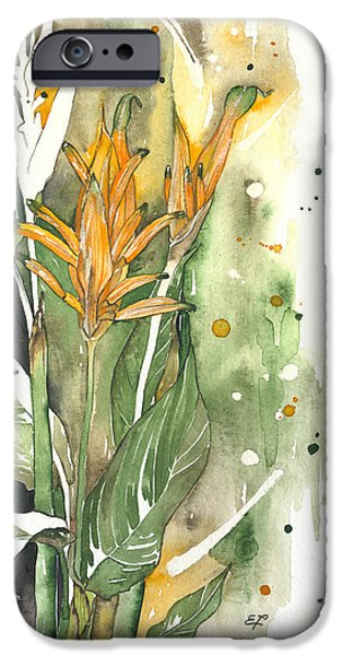 Flora Drawings iPhone Cases - Bird Of Paradise 08 Elena Yakubovich  iPhone Case by Elena Yakubovich
