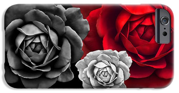 Red Rose iPhone 6 Case - Black White Red Roses Abstract by Jennie Marie Schell