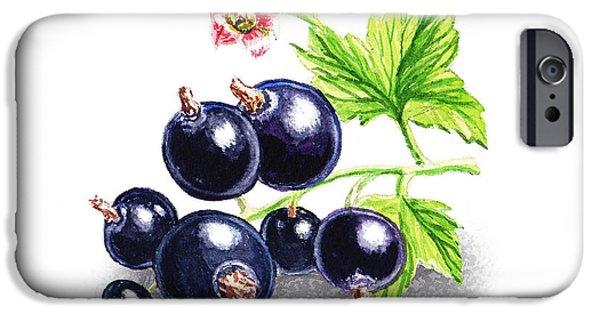 IPhone 6 Case featuring the painting Blackcurrant Still Life by Irina Sztukowski