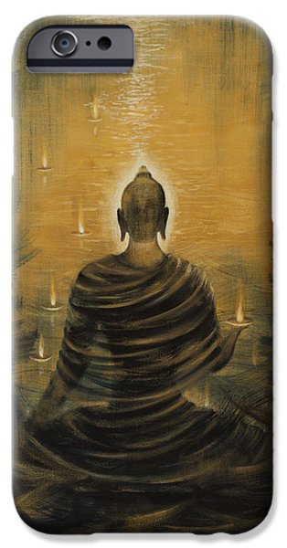 Hindu iPhone Cases - Buddha. Nirvana ocean iPhone Case by Vrindavan Das