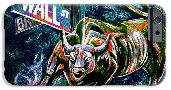 Finance iPhone Cases - Bull Market Night iPhone Case by Teshia Art