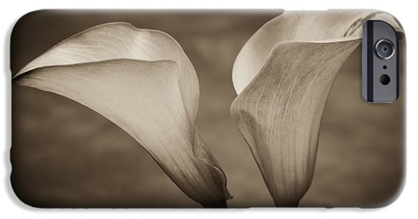 IPhone 6 Case featuring the photograph Calla Lilies In Sepia by Sebastian Musial