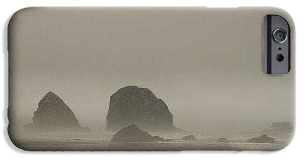 IPhone 6 Case featuring the photograph Cannon Beach In A Fog Oregon by Yulia Kazansky
