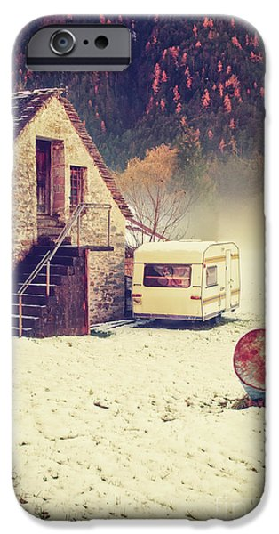 Caravan In The Snow With House And Wood IPhone 6 Case by Silvia Ganora