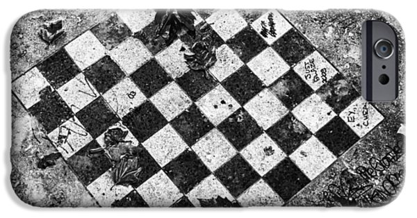 IPhone 6 Case featuring the photograph Chess Table In Rain by Dave Beckerman