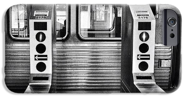 City iPhone 6 Case - Chicago L Train Gate In Black And White by Paul Velgos