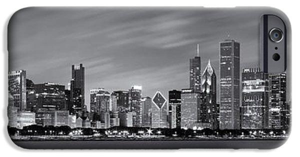 Chicago Skyline At Night Black And White Panoramic IPhone 6 Case
