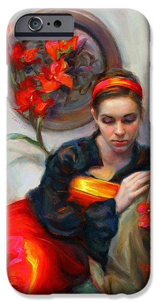 Red iPhone 6 Case - Common Threads - Divine Feminine In Silk Red Dress by Talya Johnson