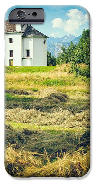 IPhone 6 Case featuring the photograph Country Church With Hay by Silvia Ganora