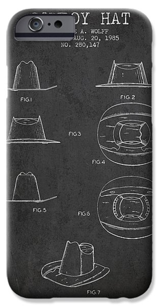 western clothes iphone 6 case - cowboy hat patent from 1985 - charcoal by  aged pixel