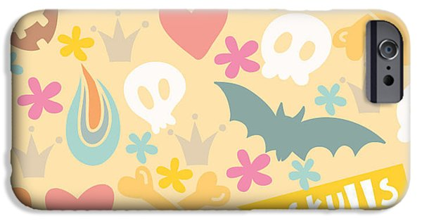 Bat iPhone 6 Case - Cute Cartoon Seamless Pattern With by Marushabelle