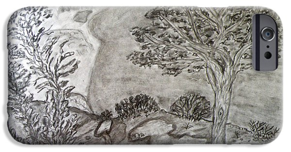 Beach Landscape Drawings iPhone Cases - Cypresses in Cyprus iPhone Case by Augusta Stylianou
