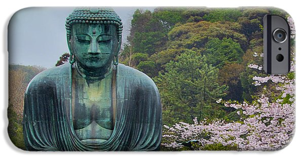 Cherry Blossoms iPhone Cases - Daibutsu Buddha iPhone Case by Alan Toepfer