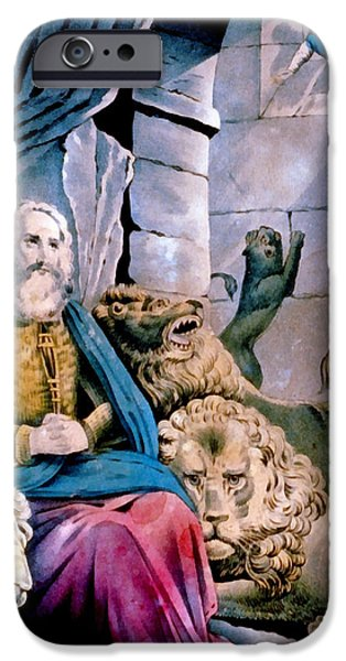 Currier iPhone Cases - Daniel In The Lions Den iPhone Case by Currier and Ives