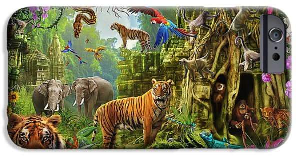 IPhone 6 Case featuring the drawing Dark Jungle Temple And Tigers by Ciro Marchetti