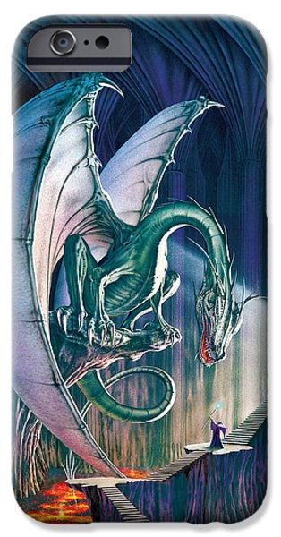 Cavern iPhone Cases - Dragon Lair With Stairs iPhone Case by The Dragon Chronicles - Robin Ko