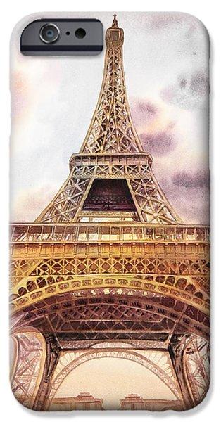 IPhone 6 Case featuring the painting Eiffel Tower Vintage Art by Irina Sztukowski