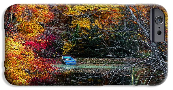 Rural iPhone Cases - Fall Pond and Boat iPhone Case by Tom Mc Nemar
