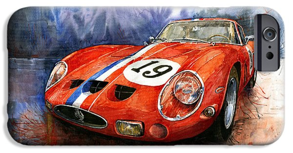 Cars iPhone Cases - Ferrari 250 GTO 1963 iPhone Case by Yuriy  Shevchuk