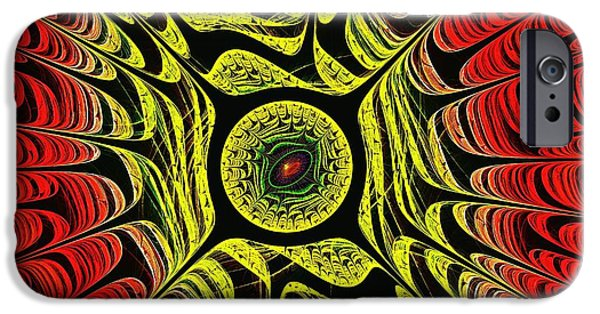 Computer Mixed Media iPhone Cases - Fire Dragon Eye iPhone Case by Anastasiya Malakhova
