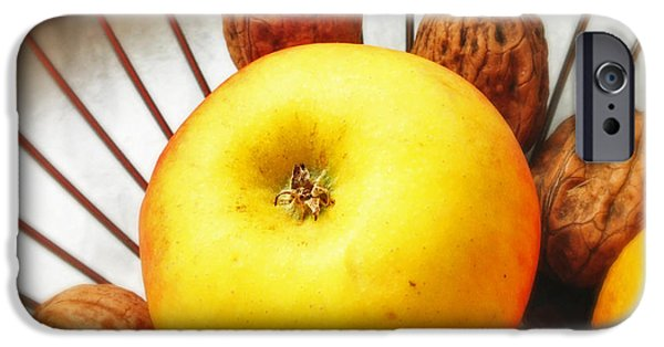 Orange iPhone 6 Case - Food Still Life - Yellow Apple And Brown Walnuts - Beautiful Warm Colors by Matthias Hauser