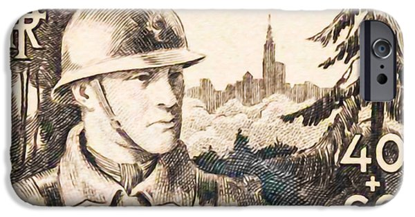 Infantryman Paintings iPhone Cases - For Our Soldiers Stamp iPhone Case by Lanjee Chee