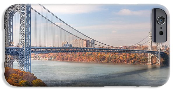 Hudson River iPhone Cases - George Washington Bridge iPhone Case by Clarence Holmes