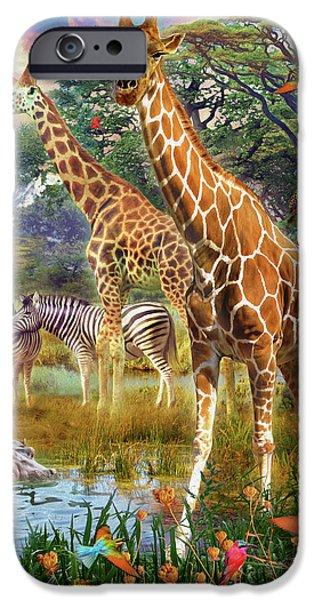 IPhone 6 Case featuring the drawing Giraffes by Jan Patrik Krasny