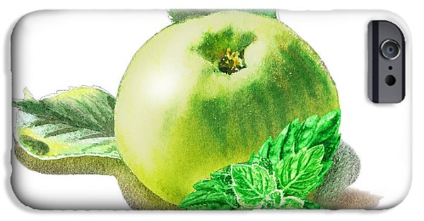 IPhone 6 Case featuring the painting Green Apple And Mint Happy Union by Irina Sztukowski