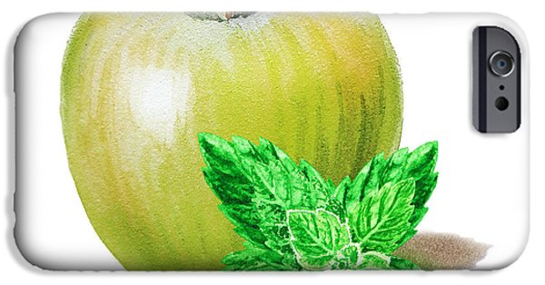 IPhone 6 Case featuring the painting Green Apple And Mint by Irina Sztukowski